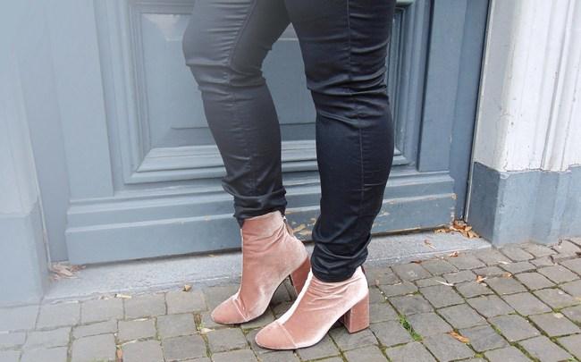 Coated jeans & velvet boots